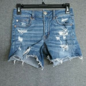 American Eagle Hi-Rise Shortie Womens Denim Shorts